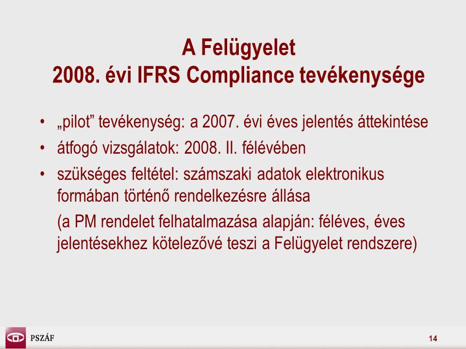 """14 A Felügyelet 2008. évi IFRS Compliance tevékenysége """"pilot tevékenység: a 2007."""