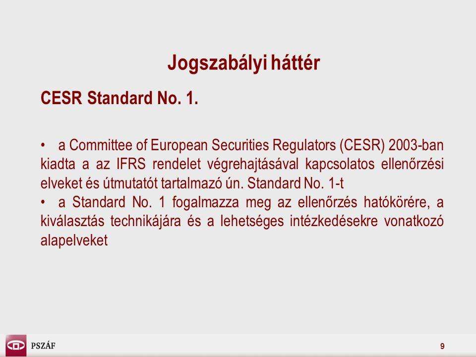9 Jogszabályi háttér CESR Standard No. 1.