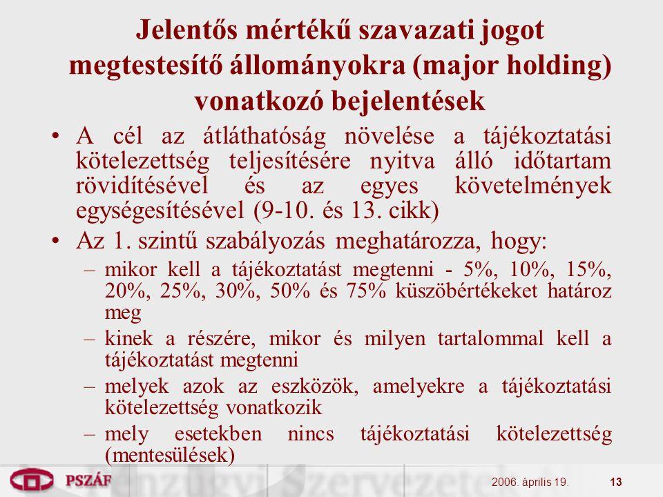 2006. április 19.13 Jelentős mértékű szavazati jogot megtestesítő állományokra (major holding) vonatkozó bejelentések A cél az átláthatóság növelése a