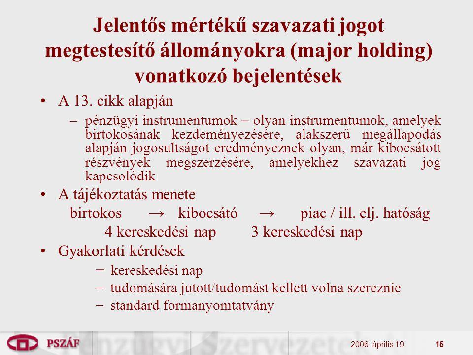 2006. április 19.15 Jelentős mértékű szavazati jogot megtestesítő állományokra (major holding) vonatkozó bejelentések A 13. cikk alapján –pénzügyi ins