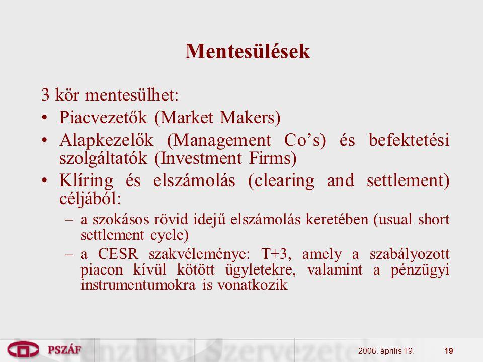 2006. április 19.19 Mentesülések 3 kör mentesülhet: Piacvezetők (Market Makers) Alapkezelők (Management Co's) és befektetési szolgáltatók (Investment