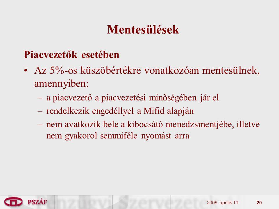 2006. április 19.20 Mentesülések Piacvezetők esetében Az 5%-os küszöbértékre vonatkozóan mentesülnek, amennyiben: –a piacvezető a piacvezetési minőség