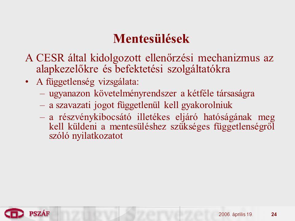 2006. április 19.24 Mentesülések A CESR által kidolgozott ellenőrzési mechanizmus az alapkezelőkre és befektetési szolgáltatókra A függetlenség vizsgá