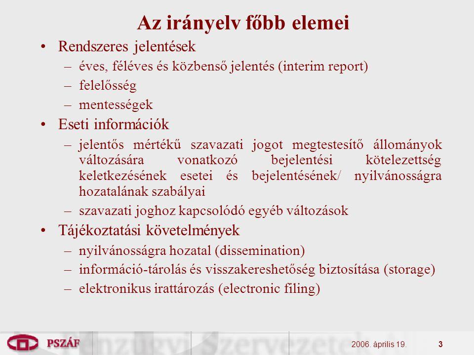 2006. április 19.3 Az irányelv főbb elemei Rendszeres jelentések –éves, féléves és közbenső jelentés (interim report) –felelősség –mentességek Eseti i