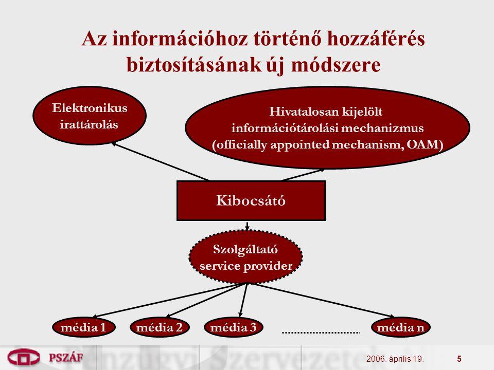 2006. április 19.5 Az információhoz történő hozzáférés biztosításának új módszere Kibocsátó Elektronikus irattárolás Hivatalosan kijelölt információtá