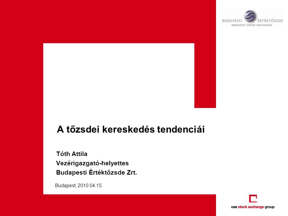 A tőzsdei kereskedés tendenciái Tóth Attila Vezérigazgató-helyettes Budapesti Értéktőzsde Zrt.