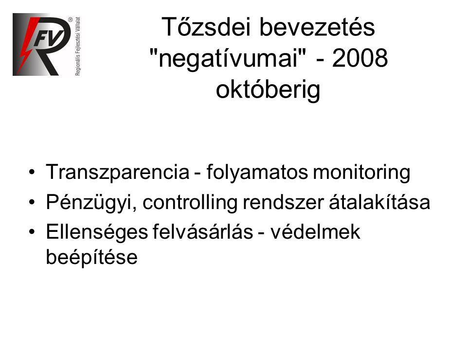 Tőzsdei bevezetés negatívumai - 2008 októberig Transzparencia - folyamatos monitoring Pénzügyi, controlling rendszer átalakítása Ellenséges felvásárlás - védelmek beépítése
