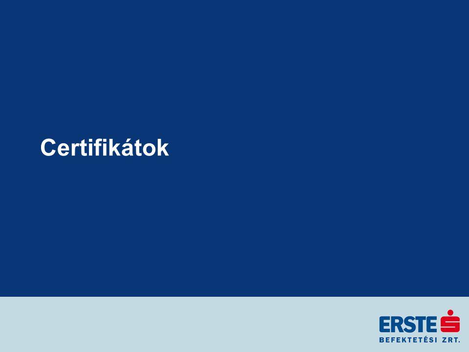 Turbó certifikát árazása (LONG) Turbó certifikát értéke 60,- +150 % 90,- 80,- Kötési ár Korlát Finanszírozási kamat: 4,- Mögöttes termék árfolyama kibocsátáskor: 100,- Belső érték: 20,- Turbó certifikát értéke kibocsátáskor: 24,- Mögöttes termék ára: 140,- 80,- Kötési ár Mögöttes termék + 40% 5 %Finanszírozási kamatláb: 1 évLejárat: Főbb adatok Certifikátok árfolyamának alakulása D