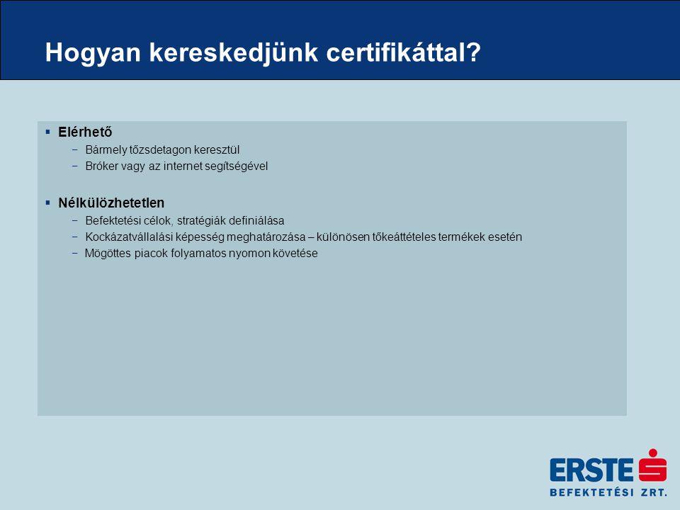 Hogyan kereskedjünk certifikáttal?  Elérhető −Bármely tőzsdetagon keresztül −Bróker vagy az internet segítségével  Nélkülözhetetlen −Befektetési cél
