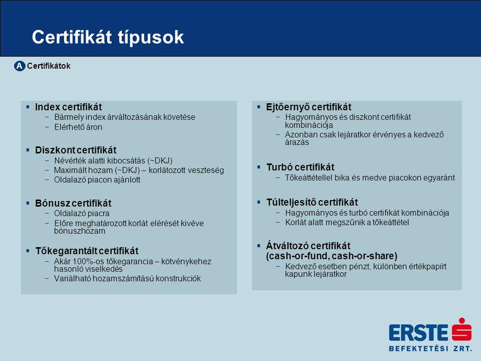 Nemzetközi tapasztalat  Nemzetközi tapasztalat – 1989 óta −jellemzően német és osztrák piacokon −legkedveltebb Németországban: 2006-ban 500 milliárd EUR-os piac  Legnagyobb forgalmú tőzsde: Stuttgart – EUWAX −több tízezer certifikát – szofisztikált keresőrendszerek −széleskörű információk a mögöttes termékekről is Certifikátok A A certifikát és strukturált termékek piacának alakulása Németországban (milliárd euró)