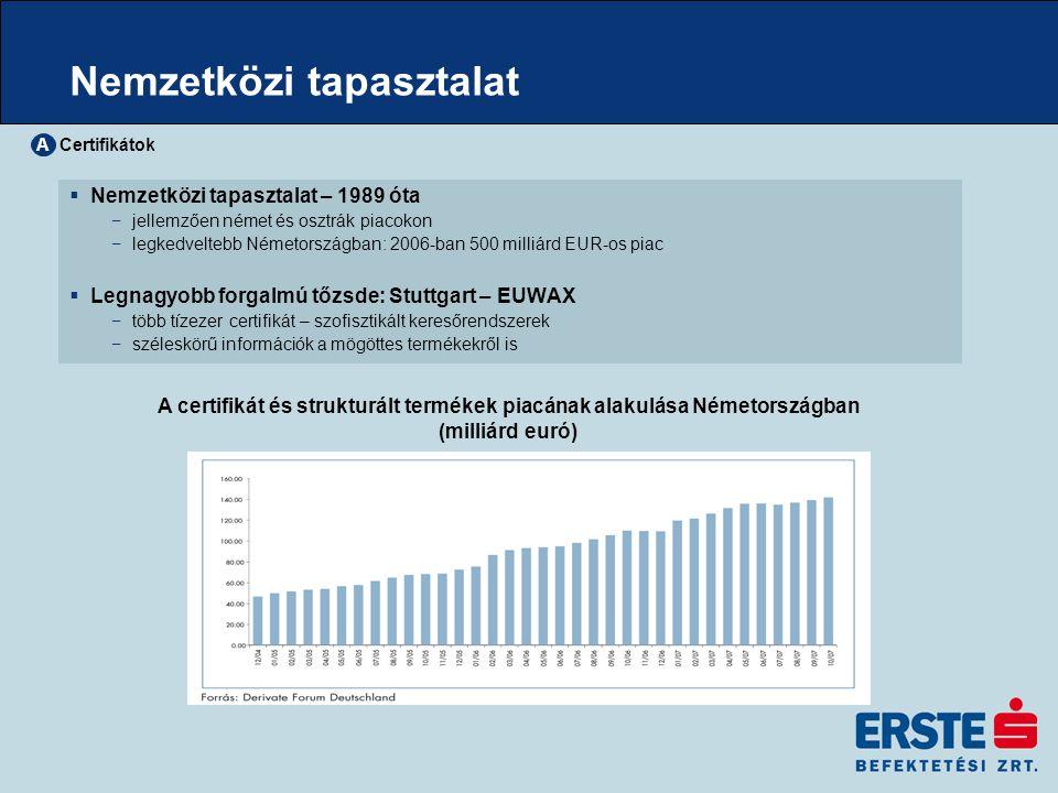 Nemzetközi tapasztalat  Nemzetközi tapasztalat – 1989 óta −jellemzően német és osztrák piacokon −legkedveltebb Németországban: 2006-ban 500 milliárd