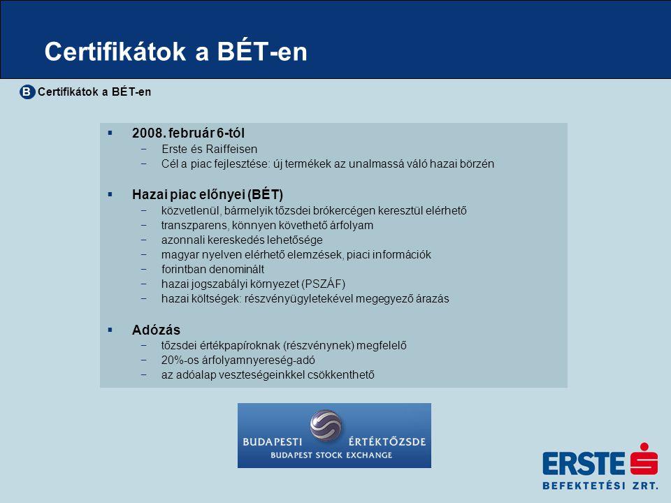 Certifikátok a BÉT-en  2008. február 6-tól −Erste és Raiffeisen −Cél a piac fejlesztése: új termékek az unalmassá váló hazai börzén  Hazai piac előn