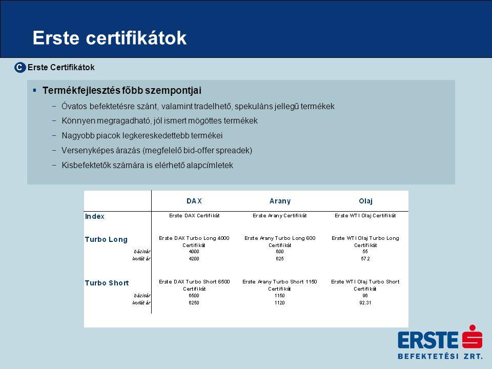 Erste certifikát típusok  Index certifikátok −mögöttes termék 100%-os leképezése −kis összegű alapcímletekkel −részvétel a mögöttes termék árfolyamának emelkedésében −kockázat diverzifikáció −korlátlan hozam lehetősége −kockázata megegyezik a mögöttes termék kockázatával −nincs alapkezelési díj  Turbó certifikátok −tőkeáttételes nyereség lehetősége −korlátozott kockázat és veszteség −kis befektetéssel elérhető kiemelkedő nyereség −részvétel emelkedő és eső piacon egyaránt −akár fedezeti funkció −lejárat előtt likvidálásra kerülhet Erste Certifikátok C