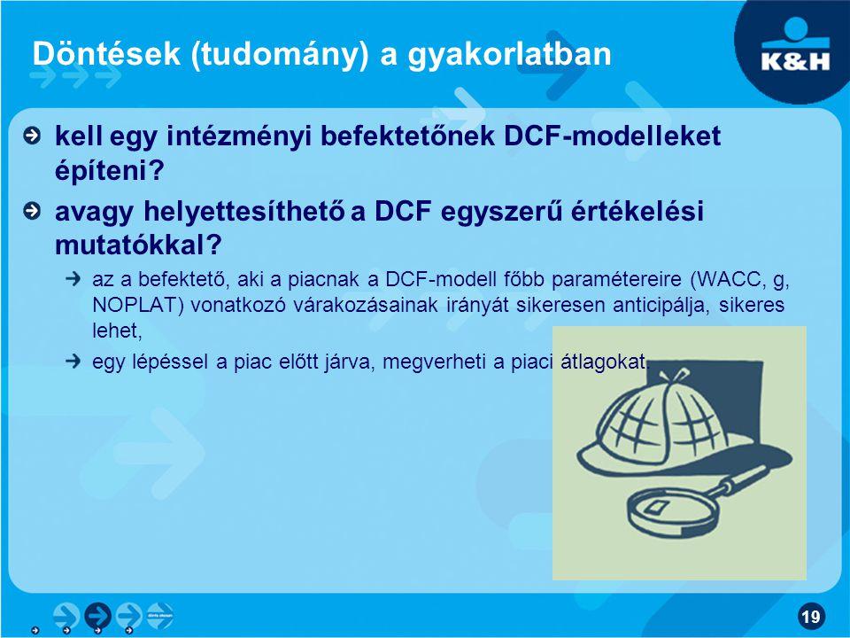 19 Döntések (tudomány) a gyakorlatban kell egy intézményi befektetőnek DCF-modelleket építeni.