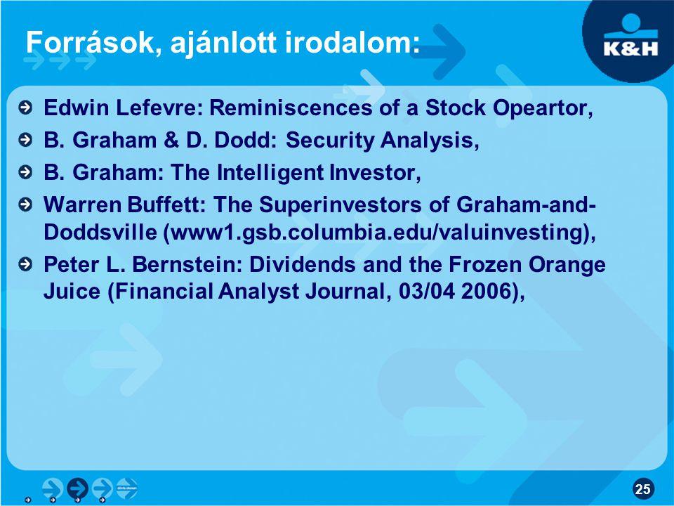 25 Források, ajánlott irodalom: Edwin Lefevre: Reminiscences of a Stock Opeartor, B.