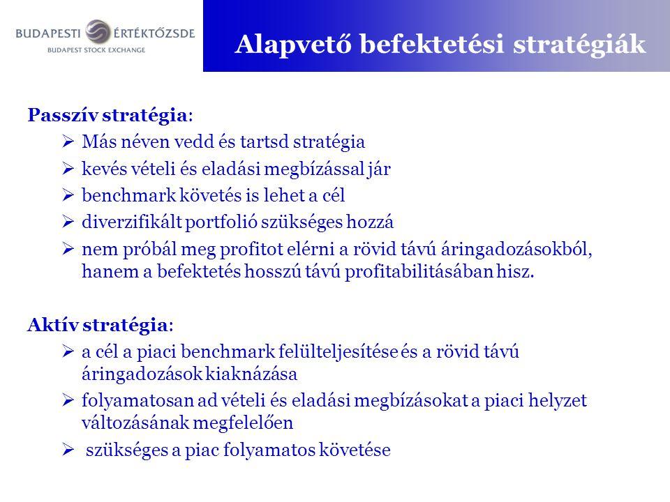 Passzív stratégia:  Más néven vedd és tartsd stratégia  kevés vételi és eladási megbízással jár  benchmark követés is lehet a cél  diverzifikált p