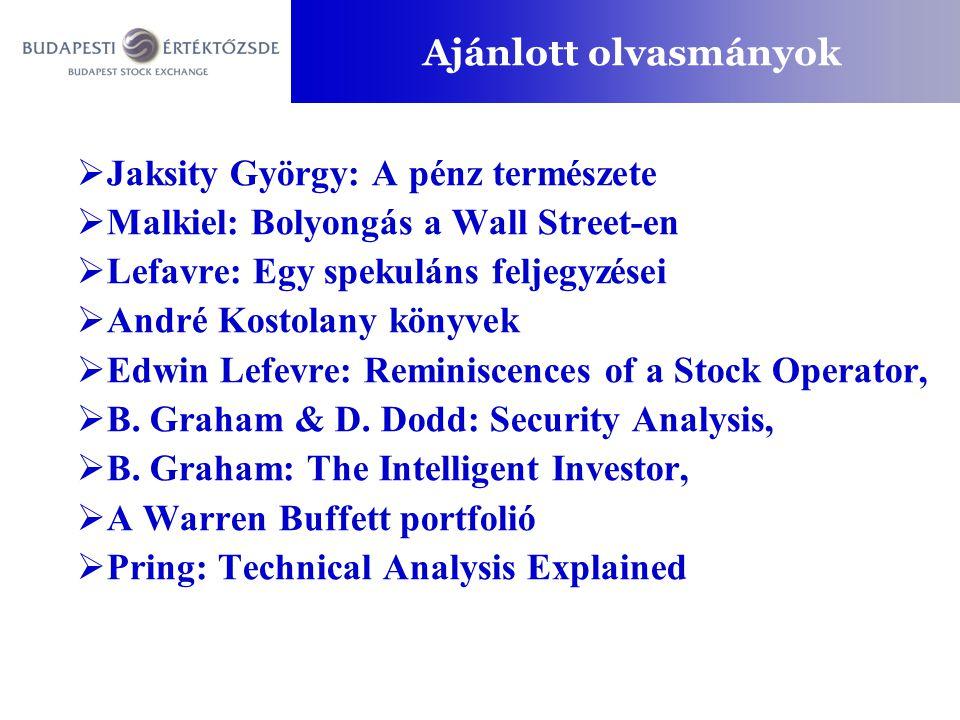 Ajánlott olvasmányok  Jaksity György: A pénz természete  Malkiel: Bolyongás a Wall Street-en  Lefavre: Egy spekuláns feljegyzései  André Kostolany