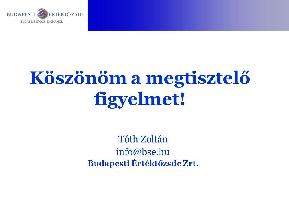 Tóth Zoltán info@bse.hu Budapesti Értéktőzsde Zrt. Köszönöm a megtisztelő figyelmet!