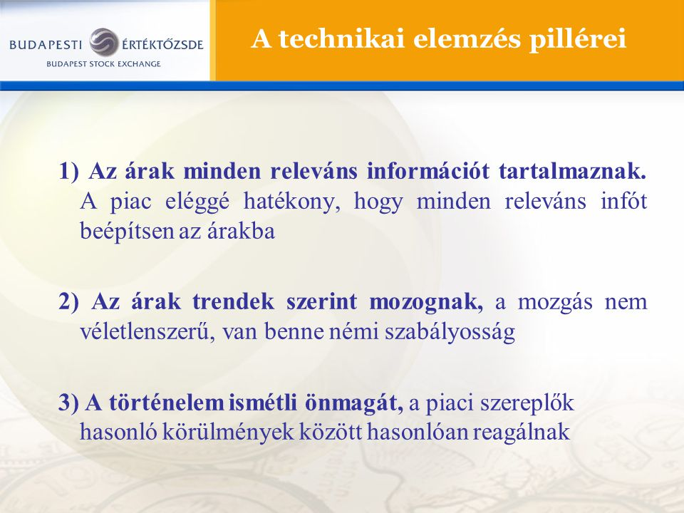 A technikai elemzés pillérei 1) Az árak minden releváns információt tartalmaznak. A piac eléggé hatékony, hogy minden releváns infót beépítsen az árak