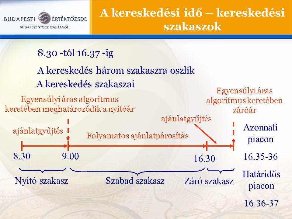 8.30 -tól 16.37 -ig A kereskedés három szakaszra oszlik A kereskedési idő – kereskedési szakaszok A kereskedés szakaszai 8.309.00 16.30 Nyitó szakaszS