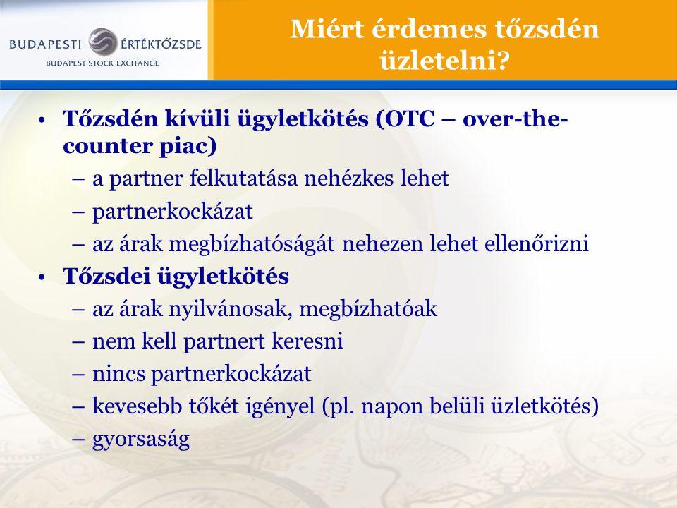 Tőzsdén kívüli ügyletkötés (OTC – over-the- counter piac) –a partner felkutatása nehézkes lehet –partnerkockázat –az árak megbízhatóságát nehezen lehe