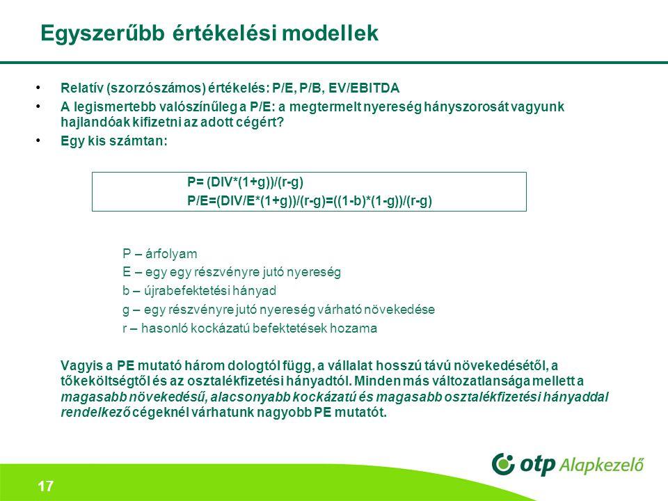 17 Egyszerűbb értékelési modellek Relatív (szorzószámos) értékelés: P/E, P/B, EV/EBITDA A legismertebb valószínűleg a P/E: a megtermelt nyereség hányszorosát vagyunk hajlandóak kifizetni az adott cégért.