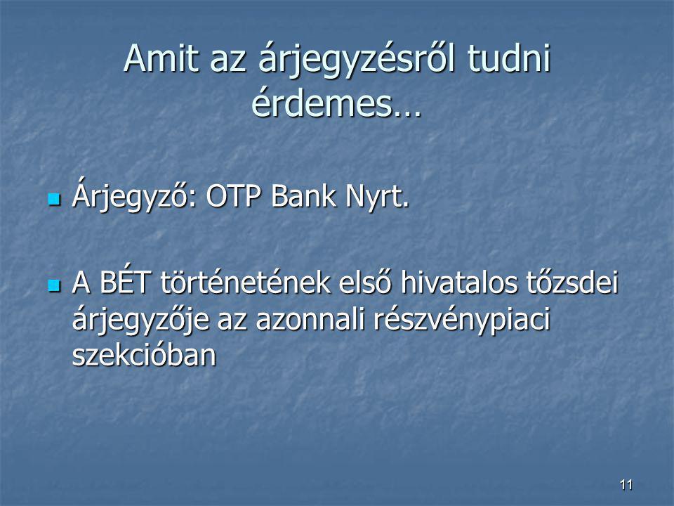 11 Amit az árjegyzésről tudni érdemes… Árjegyző: OTP Bank Nyrt. Árjegyző: OTP Bank Nyrt. A BÉT történetének első hivatalos tőzsdei árjegyzője az azonn