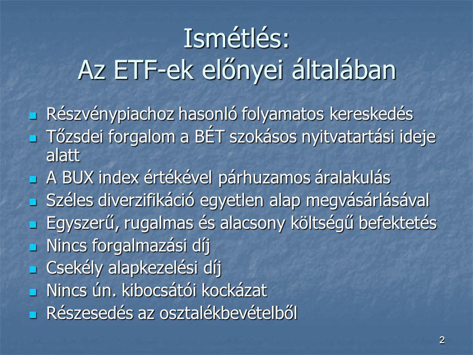 2 Ismétlés: Az ETF-ek előnyei általában Részvénypiachoz hasonló folyamatos kereskedés Részvénypiachoz hasonló folyamatos kereskedés Tőzsdei forgalom a