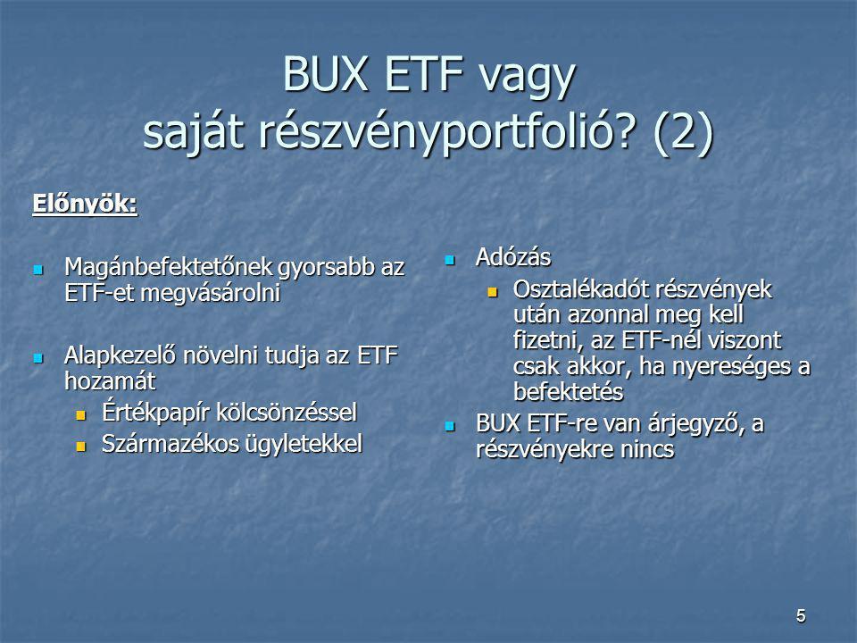 5 BUX ETF vagy saját részvényportfolió? (2) Előnyök: Magánbefektetőnek gyorsabb az ETF-et megvásárolni Magánbefektetőnek gyorsabb az ETF-et megvásárol