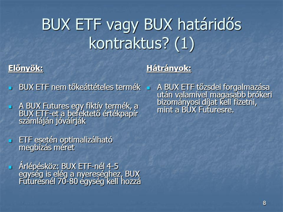 8 BUX ETF vagy BUX határidős kontraktus? (1) Előnyök: BUX ETF nem tőkeáttételes termék BUX ETF nem tőkeáttételes termék A BUX Futures egy fiktív termé