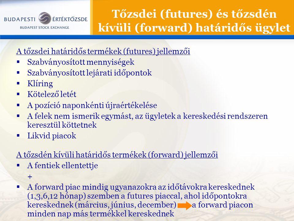 Tőzsdei (futures) és tőzsdén kívüli (forward) határidős ügylet A tőzsdei határidős termékek (futures) jellemzői  Szabványosított mennyiségek  Szabvá