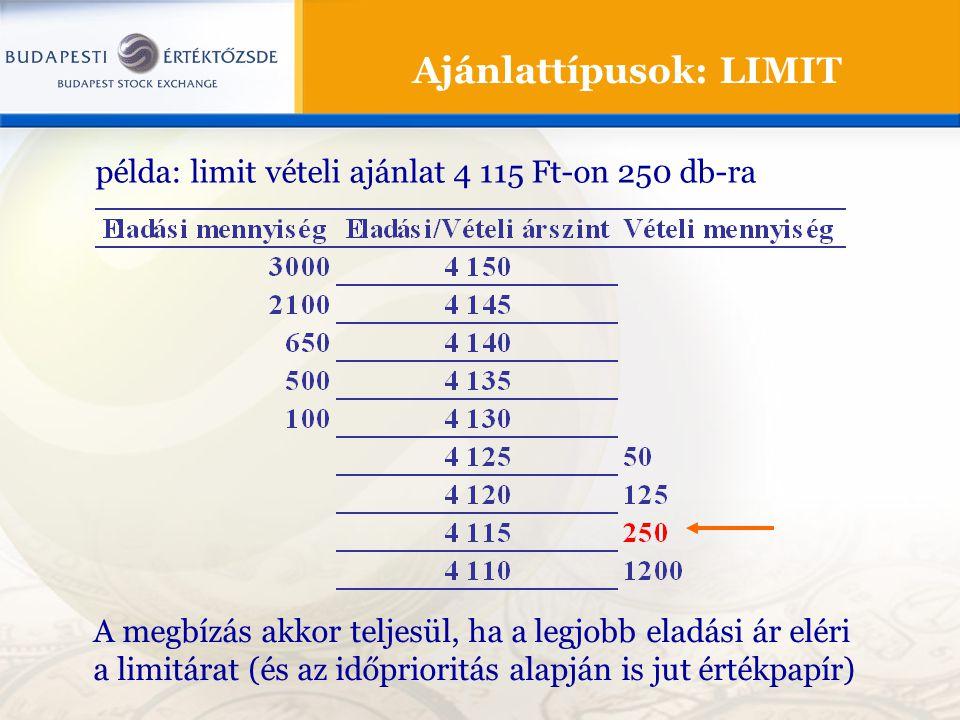 Ajánlattípusok: LIMIT A megbízás akkor teljesül, ha a legjobb eladási ár eléri a limitárat (és az időprioritás alapján is jut értékpapír) példa: limit vételi ajánlat 4 115 Ft-on 250 db-ra