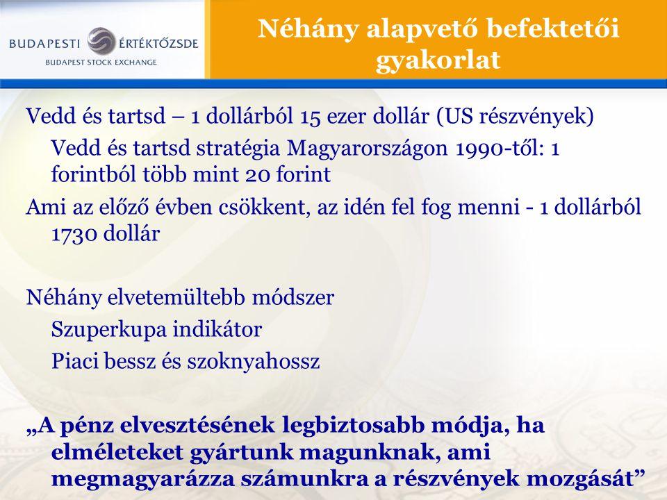 """Vedd és tartsd – 1 dollárból 15 ezer dollár (US részvények) Vedd és tartsd stratégia Magyarországon 1990-től: 1 forintból több mint 20 forint Ami az előző évben csökkent, az idén fel fog menni - 1 dollárból 1730 dollár Néhány elvetemültebb módszer Szuperkupa indikátor Piaci bessz és szoknyahossz """"A pénz elvesztésének legbiztosabb módja, ha elméleteket gyártunk magunknak, ami megmagyarázza számunkra a részvények mozgását Néhány alapvető befektetői gyakorlat"""