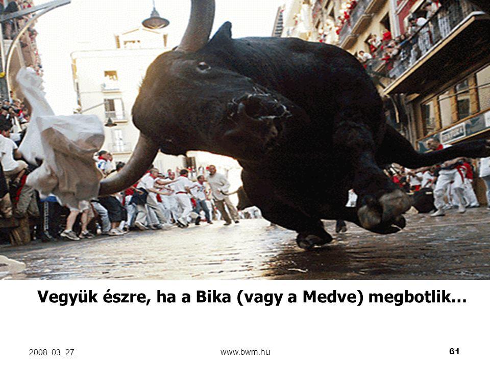 www.bwm.hu61 2008. 03. 27. Vegyük észre, ha a Bika (vagy a Medve) megbotlik…