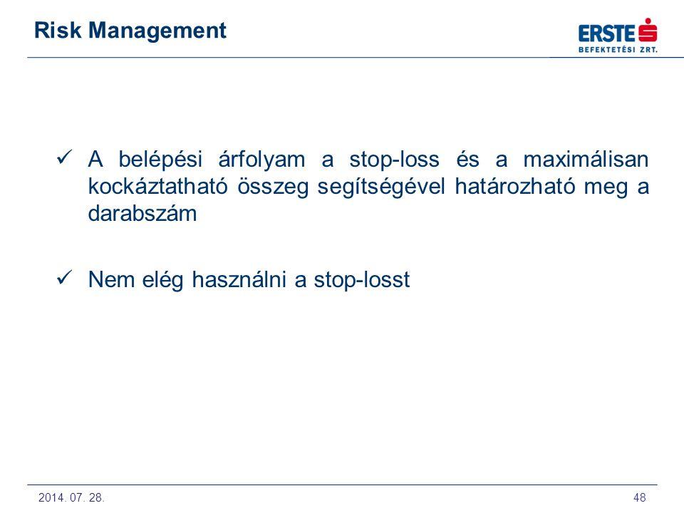 2014. 07. 28. 49 Risk Management Stop-loss szintek: Trendvonal Mozgóátlag Sáv Támasz, ellenállás