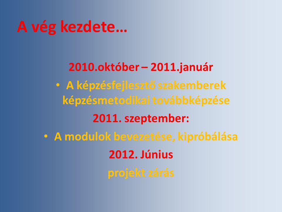 A vég kezdete… 2010.október – 2011.január A képzésfejlesztő szakemberek képzésmetodikai továbbképzése 2011.