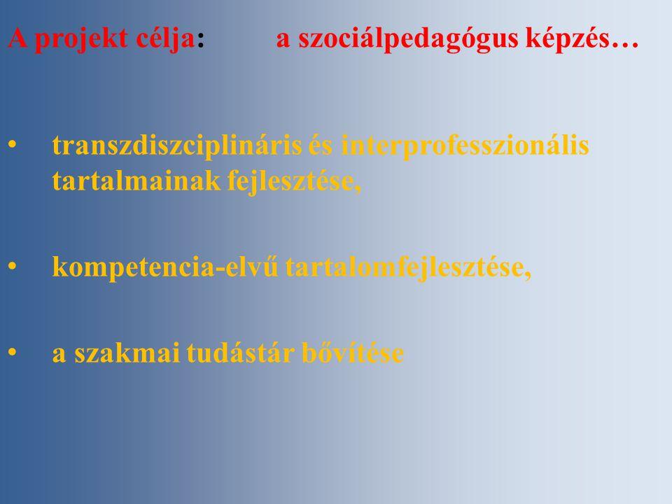 A projekt célja: a szociálpedagógus képzés… transzdiszciplináris és interprofesszionális tartalmainak fejlesztése, kompetencia-elvű tartalomfejlesztése, a szakmai tudástár bővítése