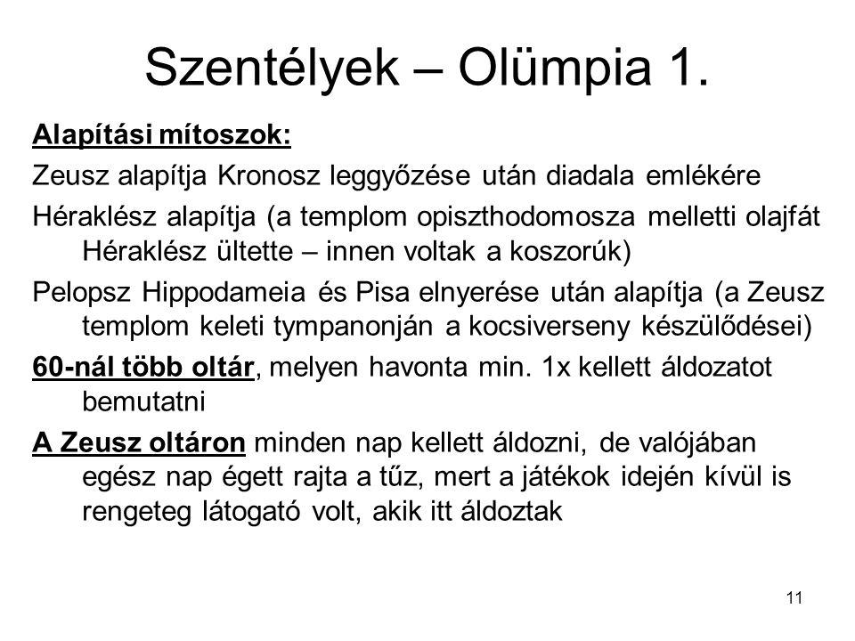 11 Szentélyek – Olümpia 1. Alapítási mítoszok: Zeusz alapítja Kronosz leggyőzése után diadala emlékére Héraklész alapítja (a templom opiszthodomosza m