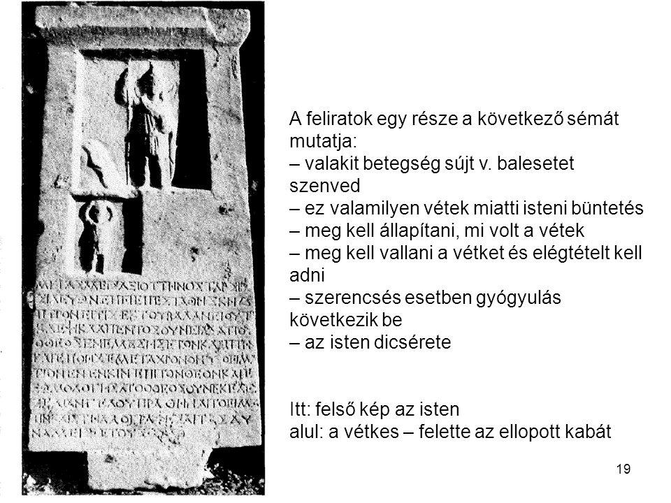 19 A feliratok egy része a következő sémát mutatja: – valakit betegség sújt v. balesetet szenved – ez valamilyen vétek miatti isteni büntetés – meg ke