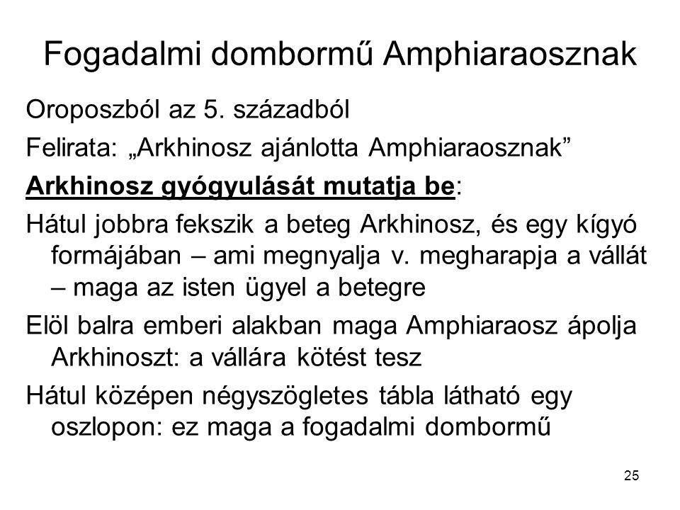"""25 Fogadalmi dombormű Amphiaraosznak Oroposzból az 5. századból Felirata: """"Arkhinosz ajánlotta Amphiaraosznak"""" Arkhinosz gyógyulását mutatja be: Hátul"""