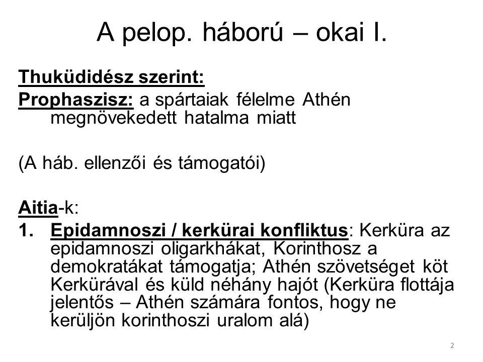 22 A pelop. háború – okai I. Thuküdidész szerint: Prophaszisz: a spártaiak félelme Athén megnövekedett hatalma miatt (A háb. ellenzői és támogatói) Ai