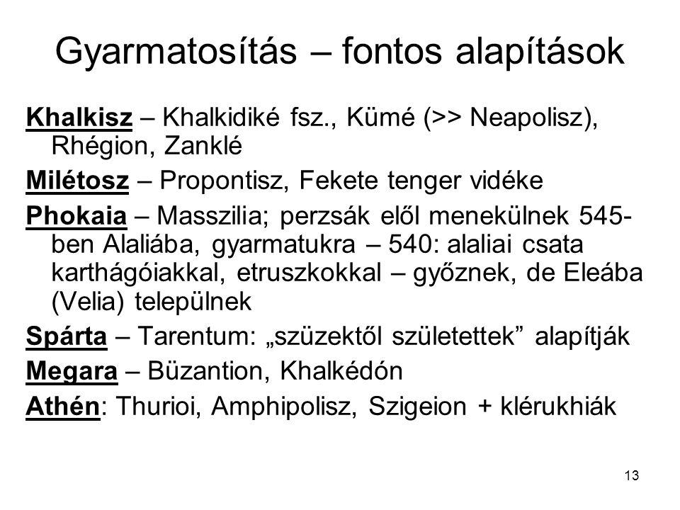 13 Gyarmatosítás – fontos alapítások Khalkisz – Khalkidiké fsz., Kümé (>> Neapolisz), Rhégion, Zanklé Milétosz – Propontisz, Fekete tenger vidéke Phok