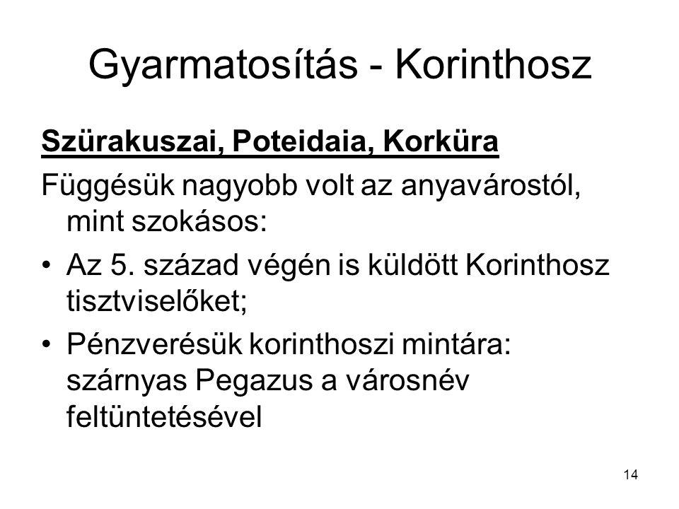 14 Gyarmatosítás - Korinthosz Szürakuszai, Poteidaia, Korküra Függésük nagyobb volt az anyavárostól, mint szokásos: Az 5. század végén is küldött Kori