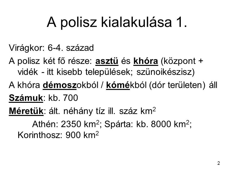 2 A polisz kialakulása 1. Virágkor: 6-4. század A polisz két fő része: asztü és khóra (központ + vidék - itt kisebb települések; szünoikészisz) A khór