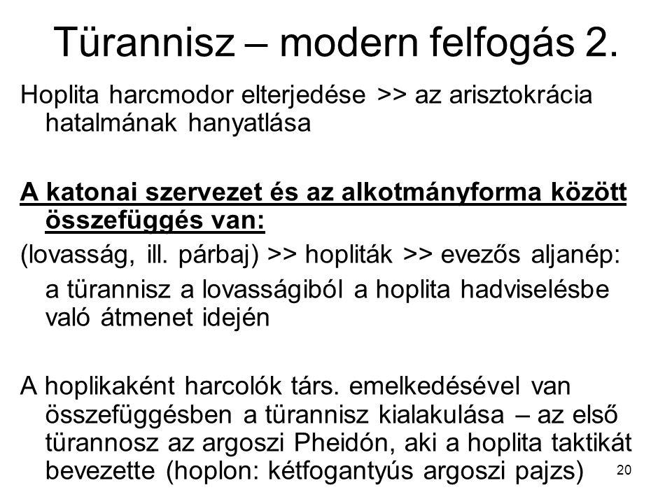 20 Türannisz – modern felfogás 2. Hoplita harcmodor elterjedése >> az arisztokrácia hatalmának hanyatlása A katonai szervezet és az alkotmányforma köz