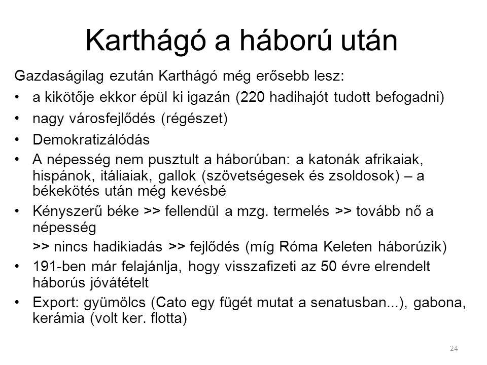 24 Karthágó a háború után Gazdaságilag ezután Karthágó még erősebb lesz: a kikötője ekkor épül ki igazán (220 hadihajót tudott befogadni) nagy városfe