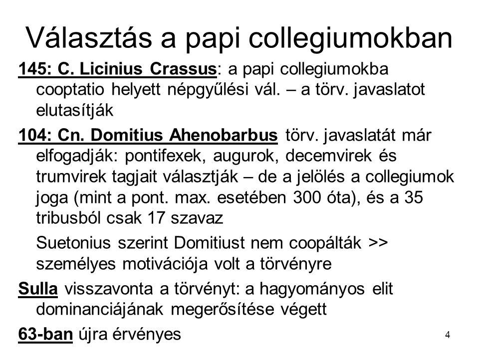 4 Választás a papi collegiumokban 145: C. Licinius Crassus: a papi collegiumokba cooptatio helyett népgyűlési vál. – a törv. javaslatot elutasítják 10
