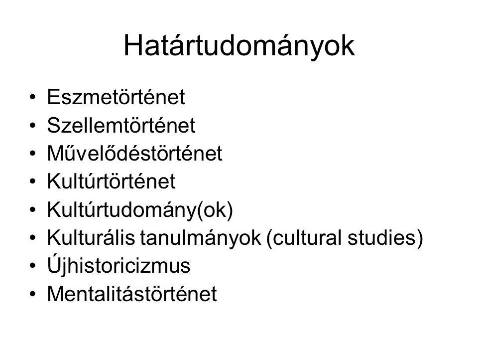 Határtudományok Eszmetörténet Szellemtörténet Művelődéstörténet Kultúrtörténet Kultúrtudomány(ok) Kulturális tanulmányok (cultural studies) Újhistoric
