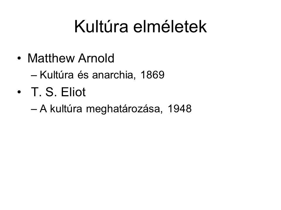 Kultúra elméletek Matthew Arnold –Kultúra és anarchia, 1869 T. S. Eliot –A kultúra meghatározása, 1948