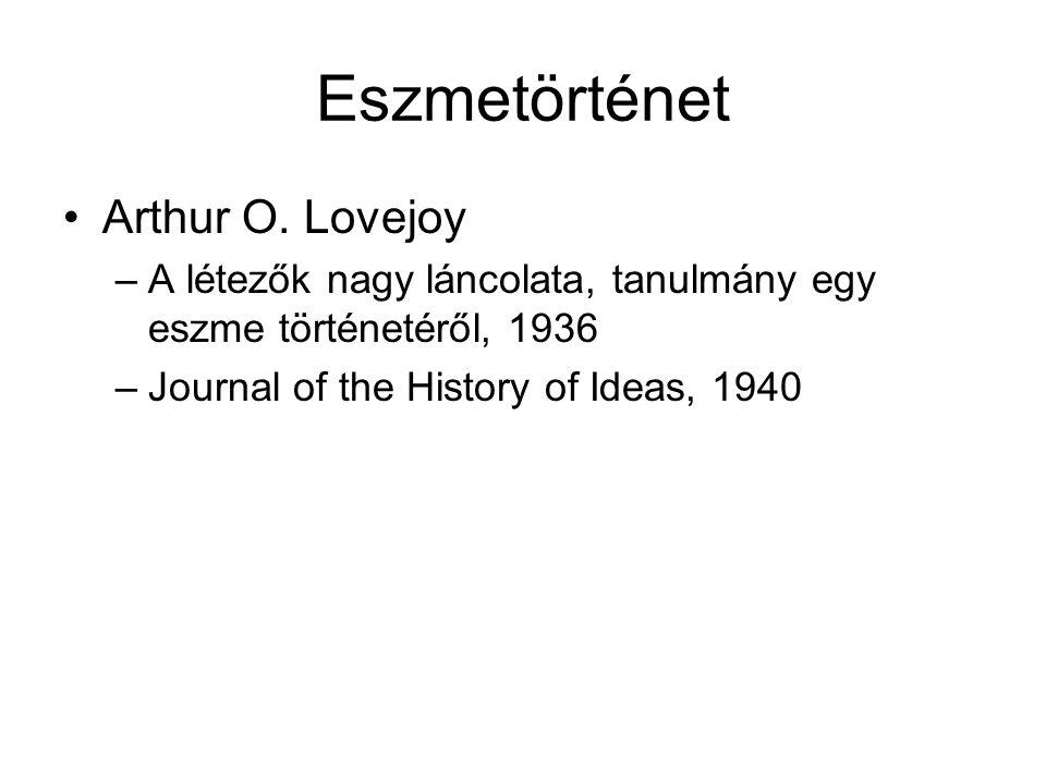 Eszmetörténet Arthur O. Lovejoy –A létezők nagy láncolata, tanulmány egy eszme történetéről, 1936 –Journal of the History of Ideas, 1940